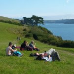 walkers relaxing looking ot the mouth of the helford river